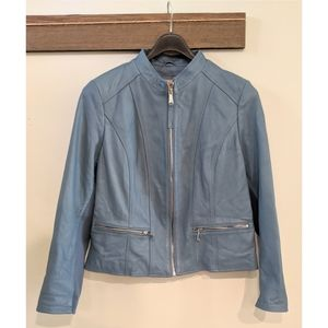 Neiman Marcus Exclusive XL Blue Leather Jacket